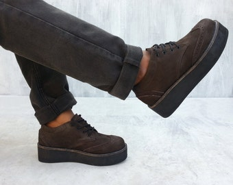 dark brown leather creepers shoes wedges suede handmade Platform Oxford Brogue Rangkayo sneakers