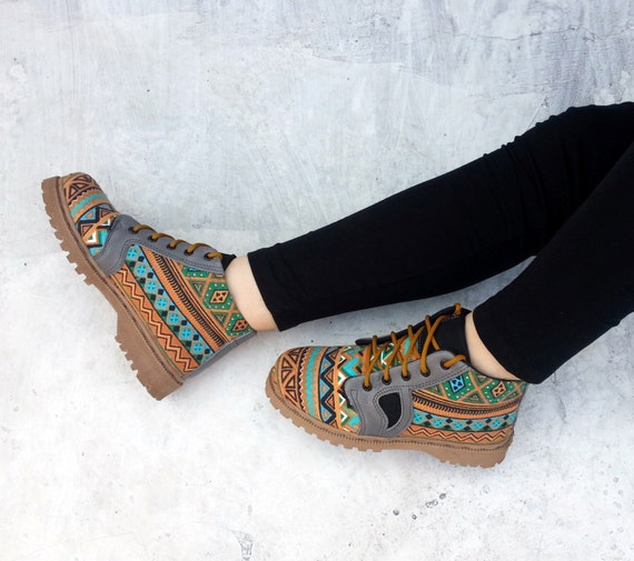 brown turquoise Ikat canvas shoes with grey leather handmade Rangkayo Sneakers women
