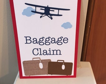 Baggage Claim Sign, Vintage Airplane Party Decorations, Vintage Airplane Party Theme