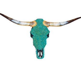 Full turquoise Custom cow skulls. Can have a custom design.