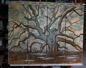 Charlestons Angel Oak Tree Hand Carved and Painted.