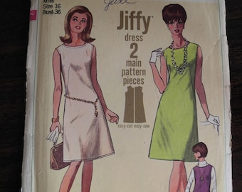 Vintage Women's Dress Sewing Pattern --  JIFFY -- Simplicity 6541 -- Size 16 -- Bust 36 -- 60s