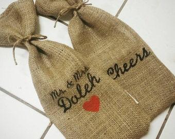 Handmade custom burlap wine bag tote