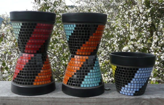 Very Cool and Funky Bright Coloured Mosaic Planters with a Twister Design - Contemporary