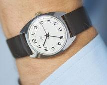Minimalist men's watch USSR - black white masculine watch Svet - rare men's watch classical - retro men fashion watch mechanical - new strap