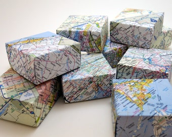 recycled map boxes - medium size