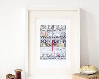 Vintage Embroidery Symbols A4 Art Print, contemporary textile pattern design artwork by Rachel Parker .