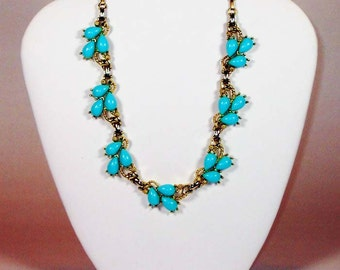 Vintage 1950's Thermoset Gold & Turquoise Choker Necklace and Clip On Earrings Demi Parure Set