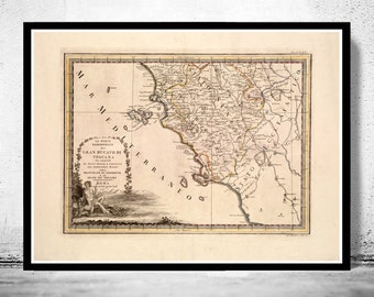 Old Map of Tuscany Toscana Italy 1791