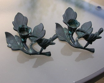 2pcs pair French antique vintage  dark patina solid bronze candle holder Bird flower leaves  candle stick