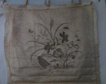 Oriental metallic needlework on silk