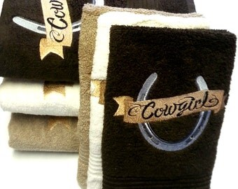 Bath Towels | On Sale | Cowgirl Horseshoe Bath Towel Sets | Bathroom Towels | Western Bath Towels | Ready-to-Ship