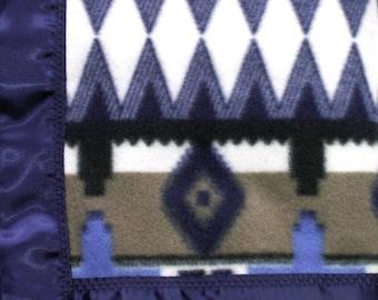 Baby Blanket   Fleece Blanket   Blue Diamond Fleece Blanket with Satin Trim   42 x 42 Inch   Boy or Girl Blanket   FREE SHIPPING USA