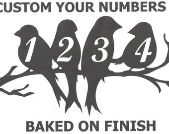 House Numbers Birds on a Limb Address Metal Sign, Metal Art, Handmade, Any Numbers