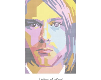 Modern cross stitch pattern Kurt Cobain pop Nirvana colorfull portrait - PDF Instant download