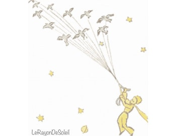 Little prince tale petit prince birds flying Modern cross stitch pattern - PDF Instant download.