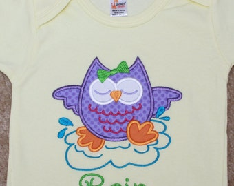 Personalized Applique Baby Onepiece Bodysuit - Rainy Day Owl