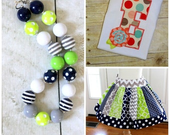 Girls Birthday outfit Lime green navy and gray skirt set wih matching necklace Toddler girl skirt with shirt Fall outfit Summer outfit