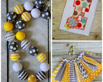 Girls Birthday outfit yellow and gray skirt set wih matching necklace Toddler girl skirt with shirt Fall outfit Summer outfit