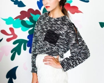 Black White and Grey Boucle Sweater