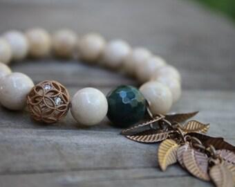 Beaded bracelet, 10mm riverstone bracelet, cz matte gold filigree bead,matte gold leaf charm, indian gate, ivory bead bracelet, beige bead
