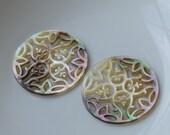 Black Shell Filigree Pendants,Black MOP Hand Carved Filigree Dangle Earring Parts,None Holes, 30 mm Round Filigree Pendants