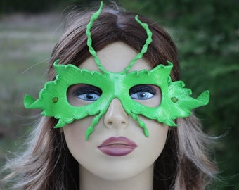 leather green leaf mask