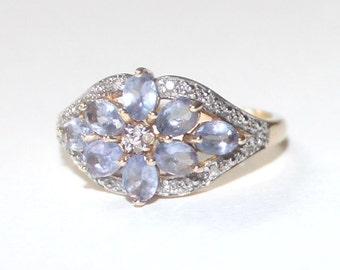 Diamond & Lavender Floral Ring 14k yellow gold - 7.75 size - sku 407n1