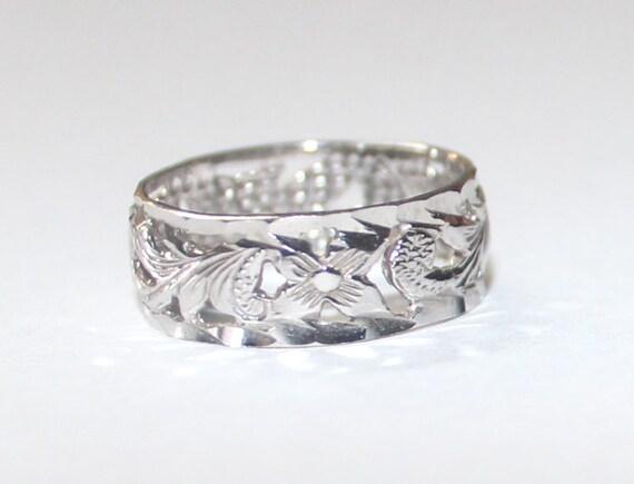hawaiian heirloom scroll plumeria ring 14k white gold 3 size