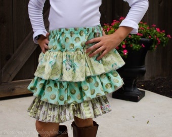 Toddler and Girls sizes 4T triple ruffle skirt in mint and gray, ready to ship, Tula Pink bees, back to school