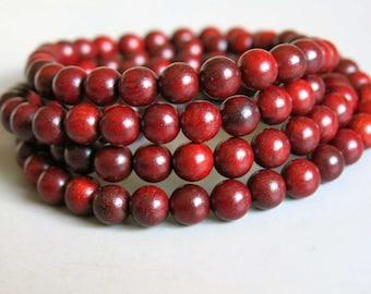 108pcs Red Rosewood Wood Beads Prayer Beads Japa Mala 6mm - A454