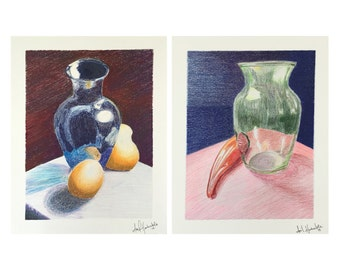 Original art - Still life studies, colored pencil, vases and fruit