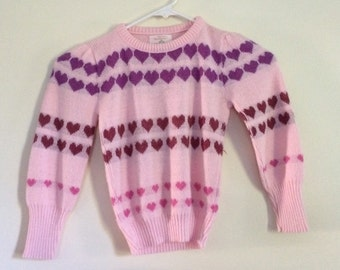 SALE Vintage 1980s Girls heart Sweater. valentines day special