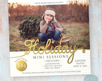 Holiday Mini Sessions - Christmas Photography Marketing - Photoshop template - IC022 - INSTANT DOWNLOAD