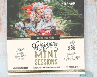 Holiday Mini Sessions - Christmas Photography Marketing - Photoshop template - IC008 - INSTANT DOWNLOAD