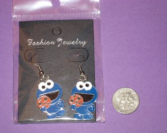 Cookie Monster Charm Earrings - A