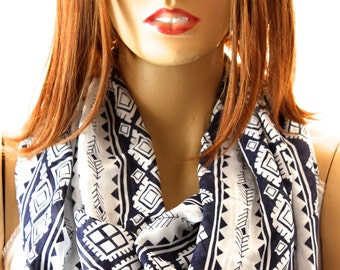 Aztec Maya Printed So Soft Cotton Infinity scarf. Loop scarf. Circle scarf. Women Scarf. Gift. Scarves, Summer scarf, Scarves, Maya scarves