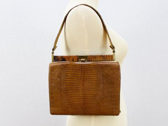 Reptile Skin Handbag -50s  Brown Snakeskin Purse - Vintage 1950s Caramel Fall Bag