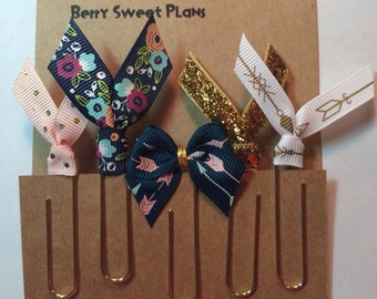 Arrows & Floral - Set of 5 Planner Clips / Bookmarks