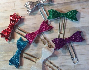 Glitter Bow Planner Clips / Bookmarks