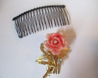 Lot of Two Vintage Hair Combs Rose w Rhinestone Plastic