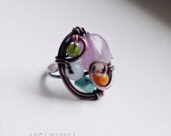 Copper ring amethyst, jade