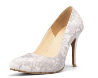 Ivory White Lace Wedding Shoes, White Wedding Shoes, Custom Made Wedding Shoes, Ivory Bridal Shoes, Vintage Wedding Shoes