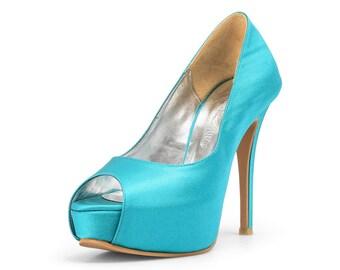 Azure Blue Wedding Shoes, Blue Satin Wedding Shoes, Custom Made Wedding Heels, Something Blue Bridal Heels, Something Blue Shoes