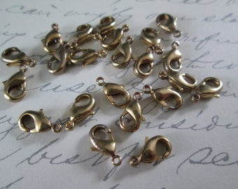 10mm  Bronze Color Lobster Claw Clasps, Nickel Free, 10pcs Chain Clasps