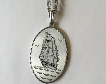 Vintage Large Pewter Silver Ship Pendant Boat Nautical Heavy Schooner Sailboat Ocean Necklace on Silver Chain by oldmanwithers