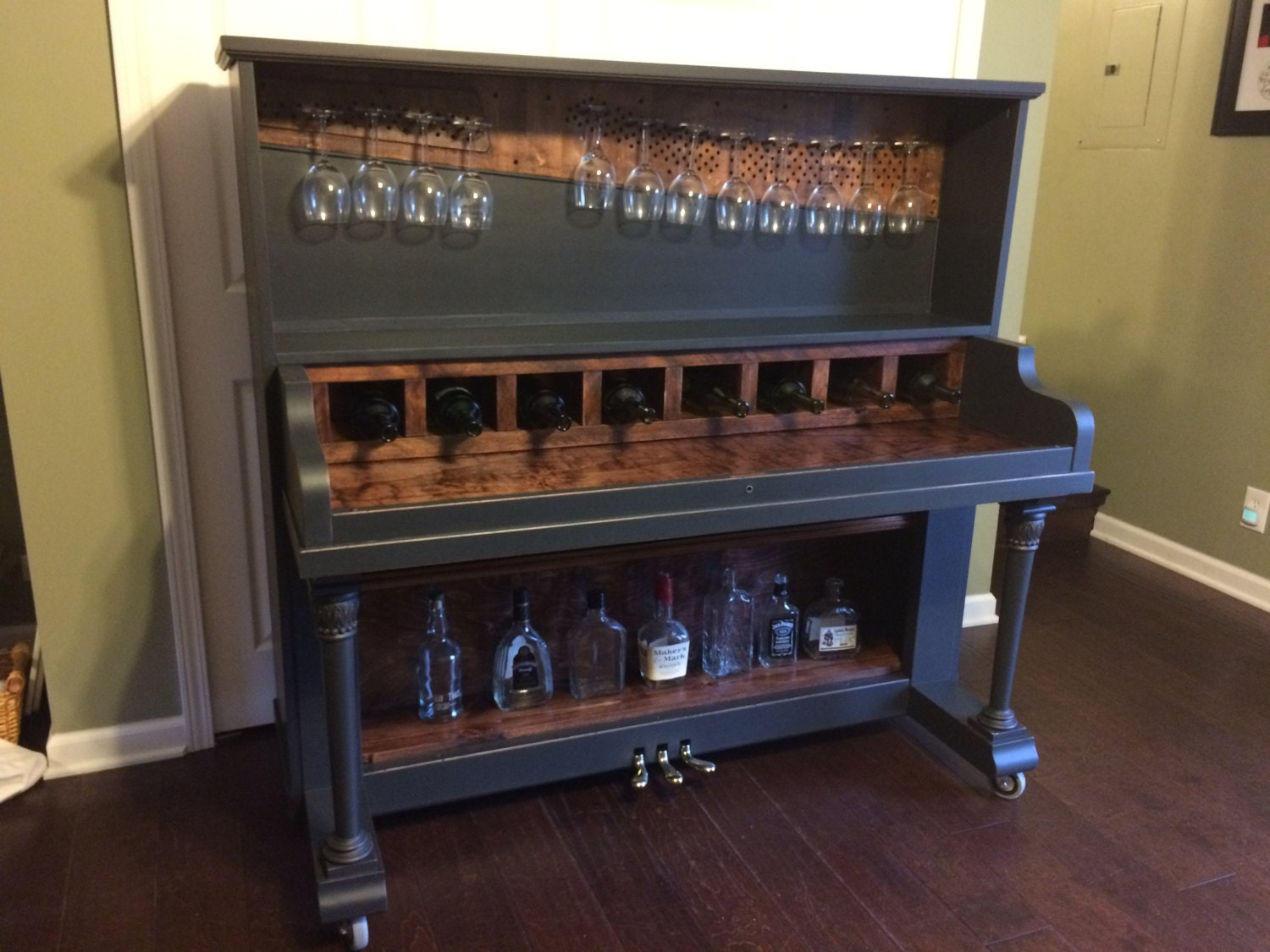upcycled piano bar unique wine bar conversation piece sold. Black Bedroom Furniture Sets. Home Design Ideas