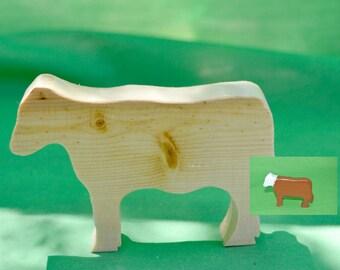 Cow, Toy Cow, Wood Cow, Farm Toy, Miniature Cow, Wood Farm Toy