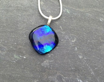 Blue Shades Pendant, Handmade, Fused Glass, Made in the uk,