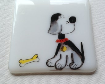 Cute Dog Coaster, Fused Glass, Handmde, Made in the UK